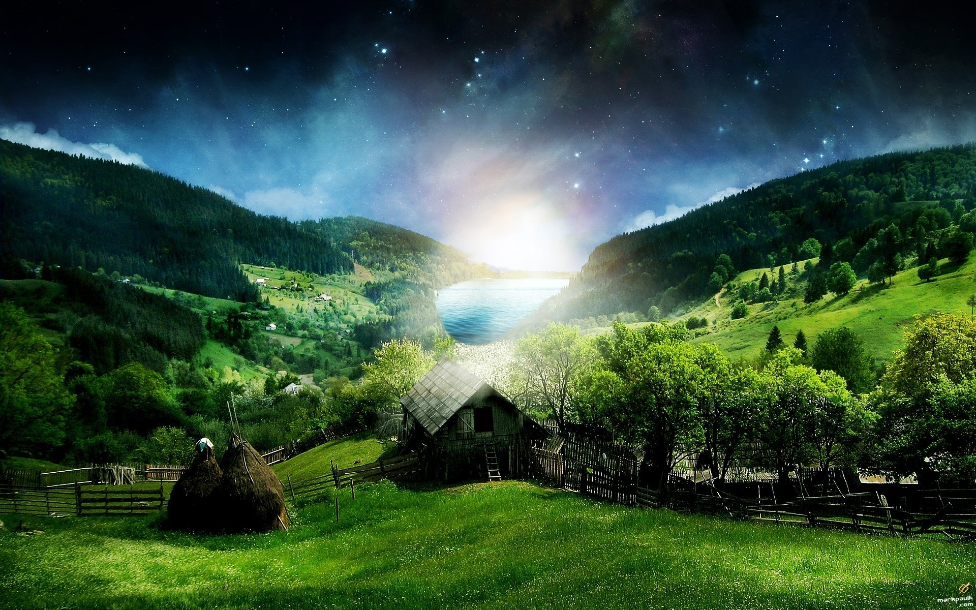 fantasy nature landscape sky travel grass mountain outdoors wood sun tree dawn summer