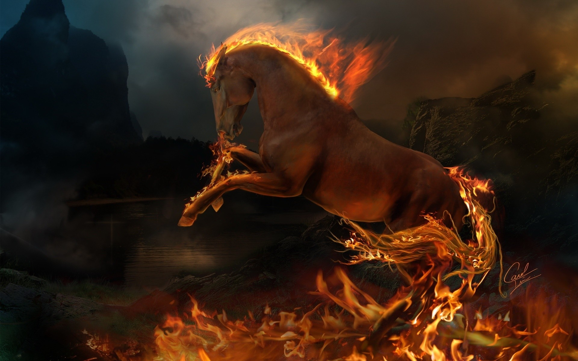 3d Burning Horse Android Wallpapers