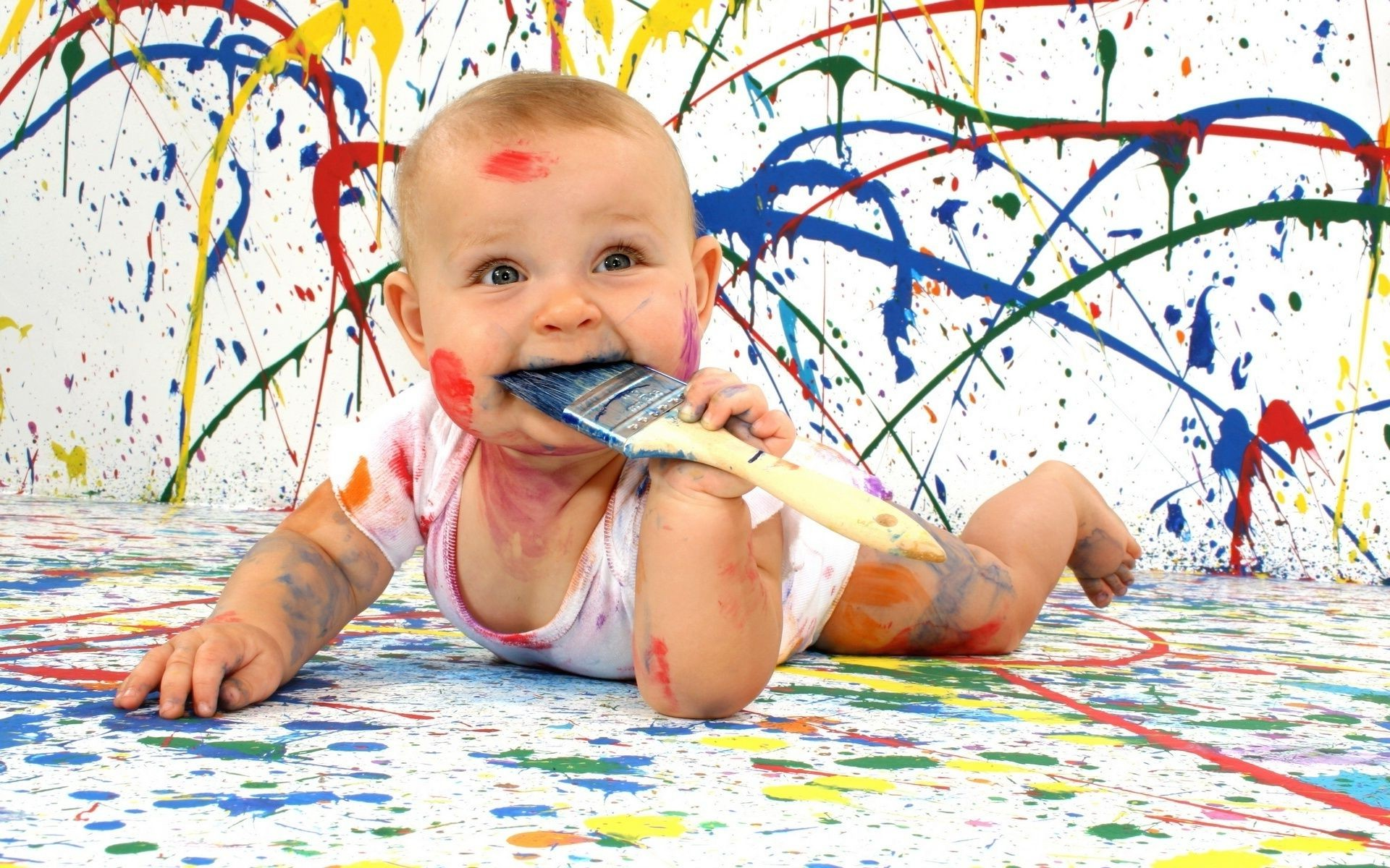 babies child fun little cute girl creativity baby beautiful happiness painting leisure play one boy joy portrait