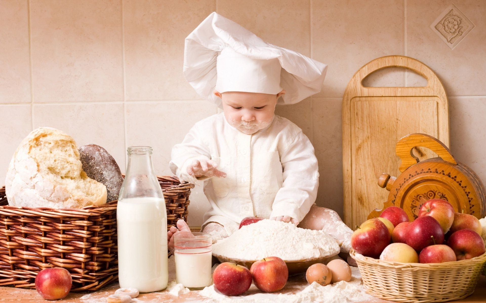 baby boy on the table and face in flour. android wallpapers for free.