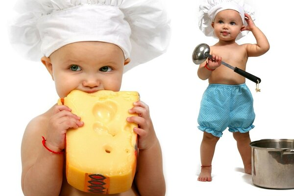 Children are pure - fun guys. Delicious cheese for your baby