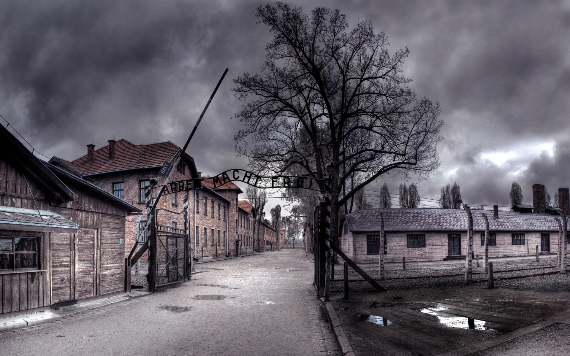 photo manipulation street architecture building war house monochrome storm road home old abandoned auschwitz hdr