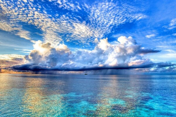 blue ocean and amazing - beautiful sky