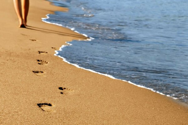 footprints in the sand of the sea shore