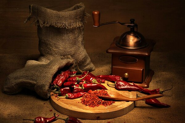 Cayenne red pepper and coffee grinder