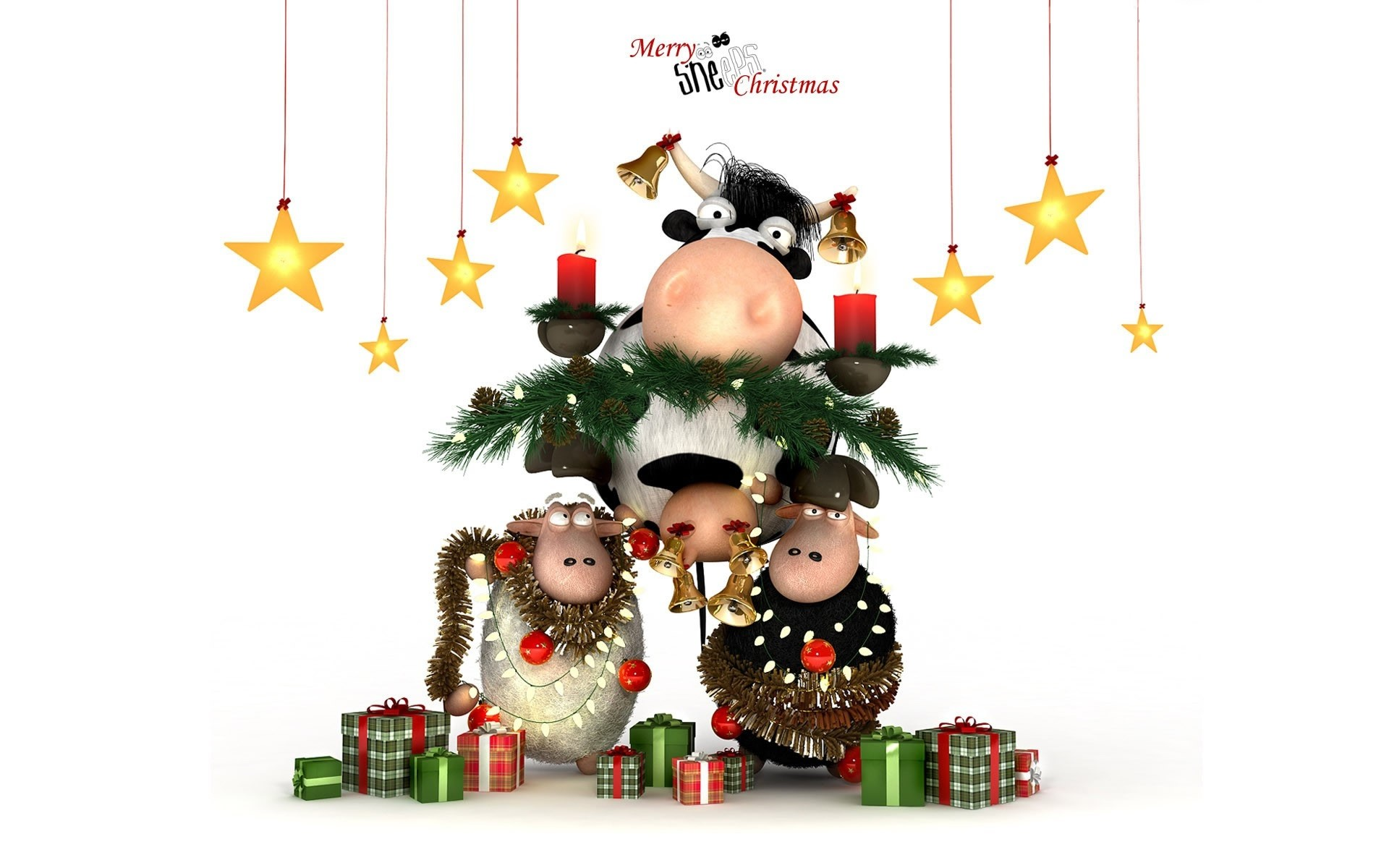Christmas Happy Cow. iPhone wallpapers for free.