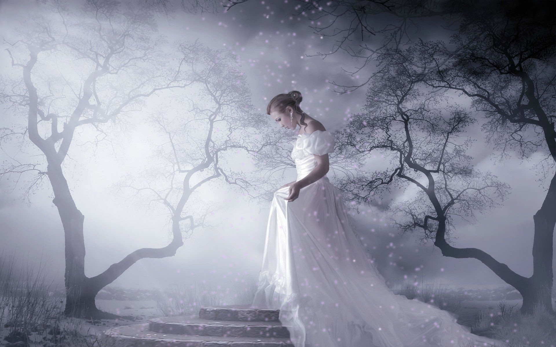 a sad bride in the dark forest