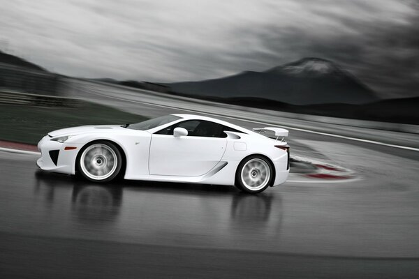 Lexus LFA White Side Angle Speed