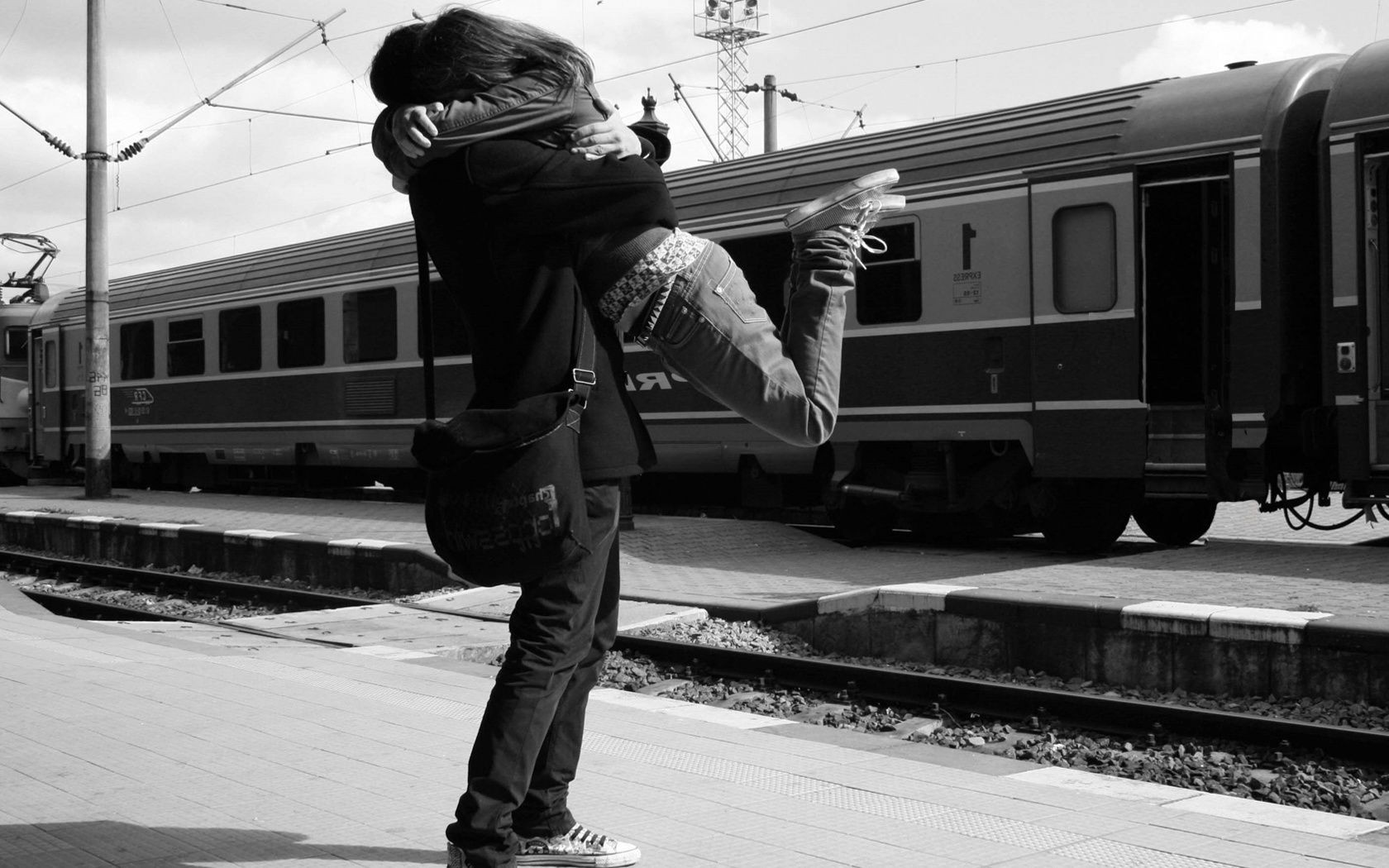 love and romance train railway transportation system vehicle adult man street one monochrome