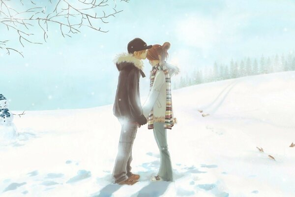 couple in love near the snowman