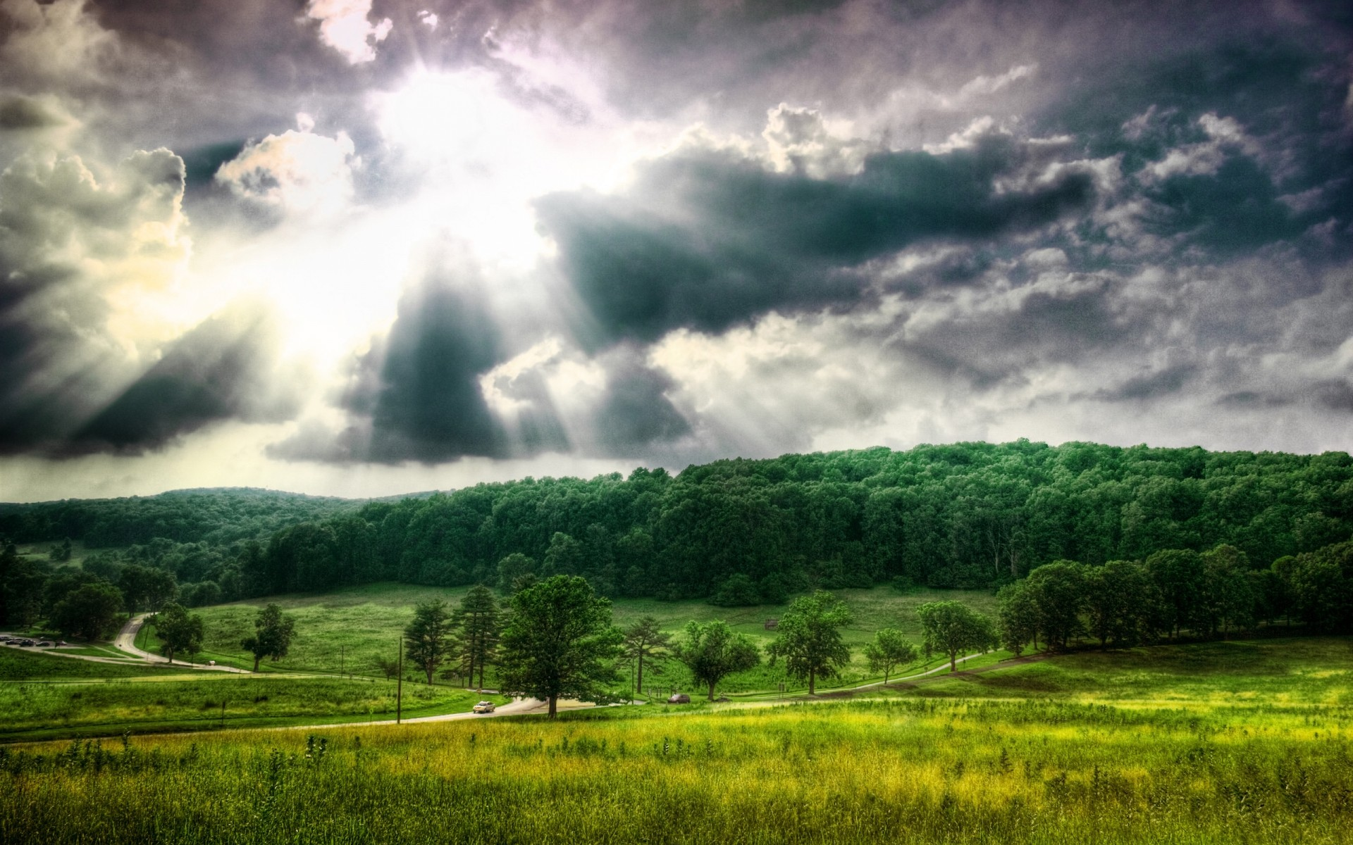 landscapes landscape nature sky rural countryside cloud tree field summer cloudy sun grass agriculture fair weather storm outdoors farm wood weather clouds forest hdr