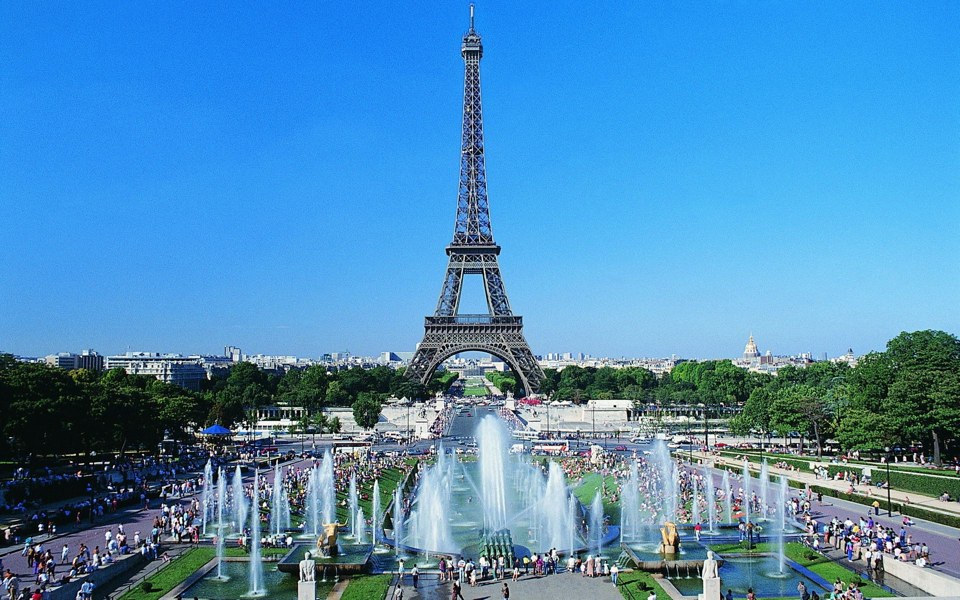 Eiffel Tower In Paris On The Background Of Summer