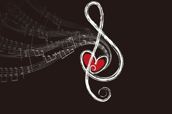 treble clef with a heart in the center