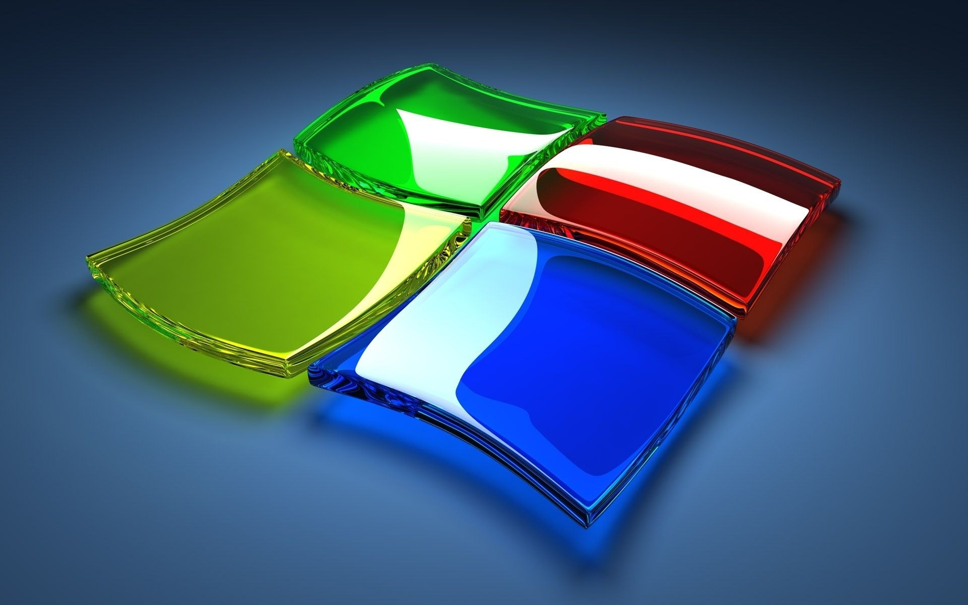 the windows logo made of glass of different colors