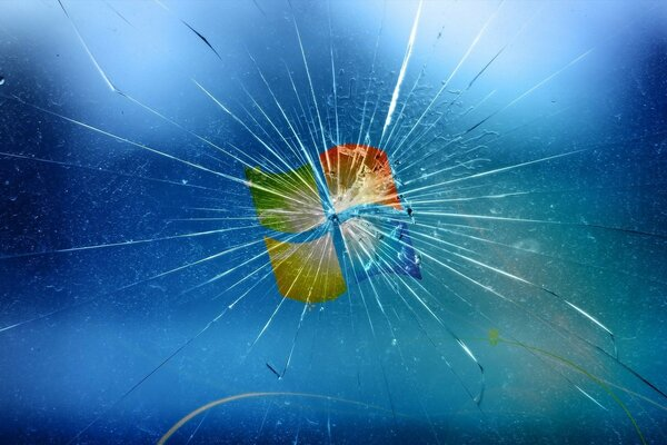 the Windows logo on broken glass
