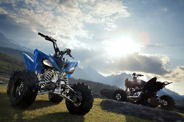 The nature of the mountain and Quad bikes