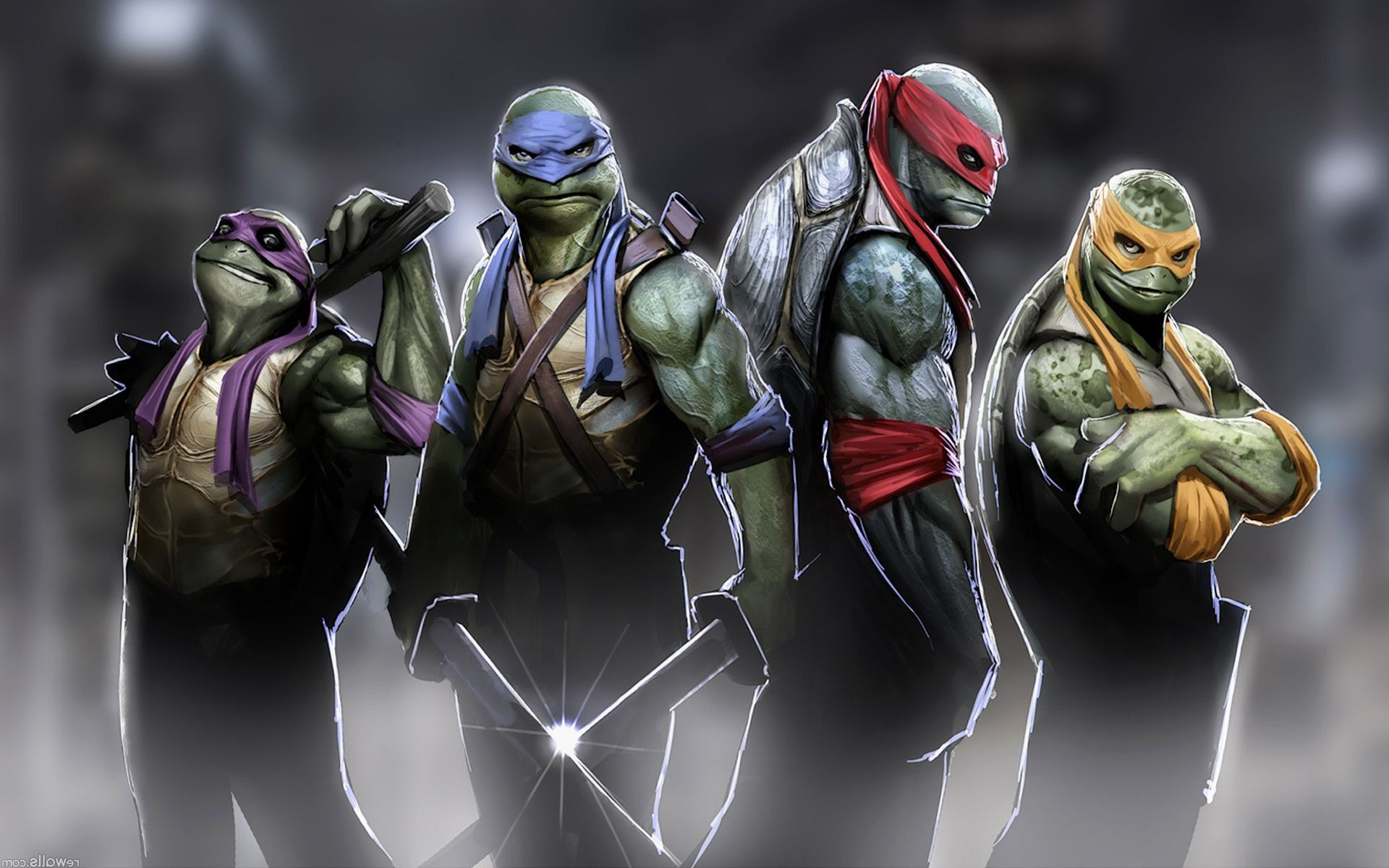 four fighters from the game teenage mutant ninja turtles