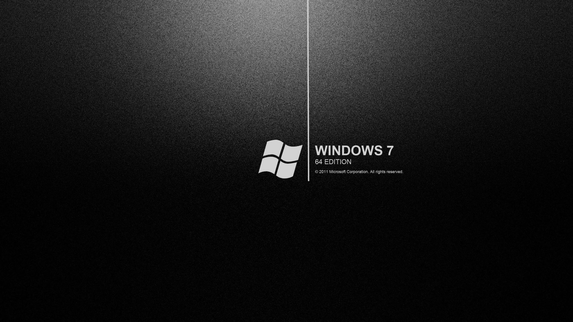 The black background with the logo of windows 7 64 edition ...
