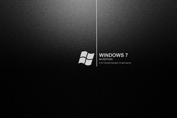 the black background with the logo of windows 7 64 edition