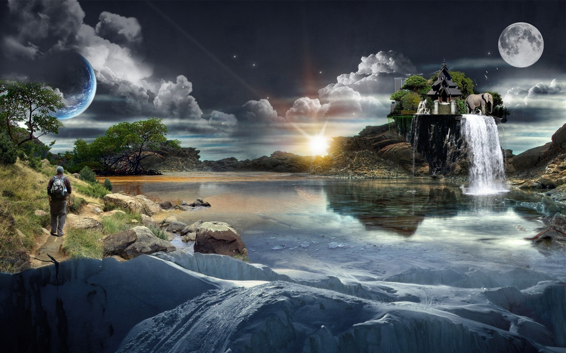photo manipulation water landscape travel rock nature sky outdoors waterfall river environment light sunset fantasy art digital clouds