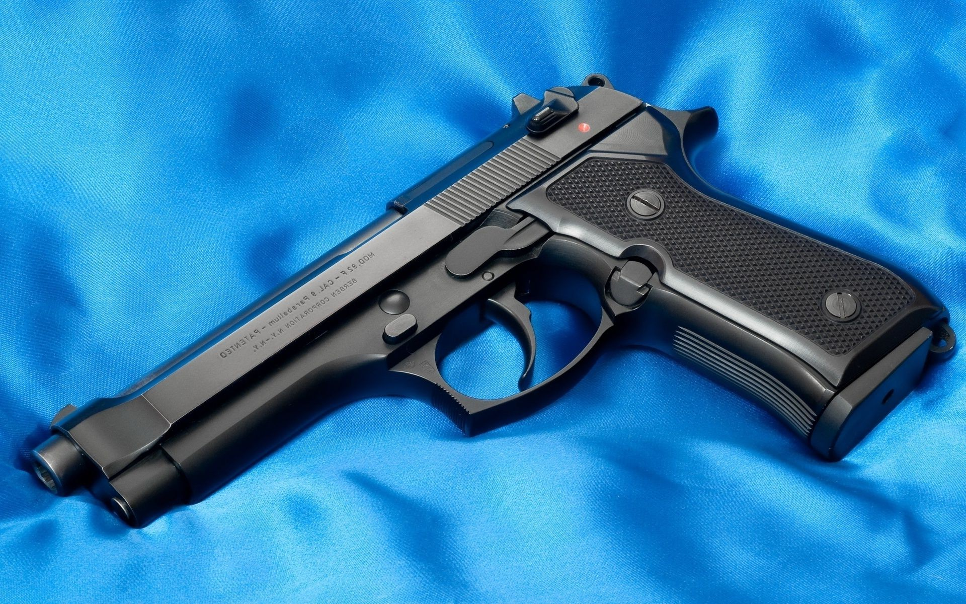 Gun Wallpaper Android Download: Beretta Gun Black Blue Background. Android Wallpapers For
