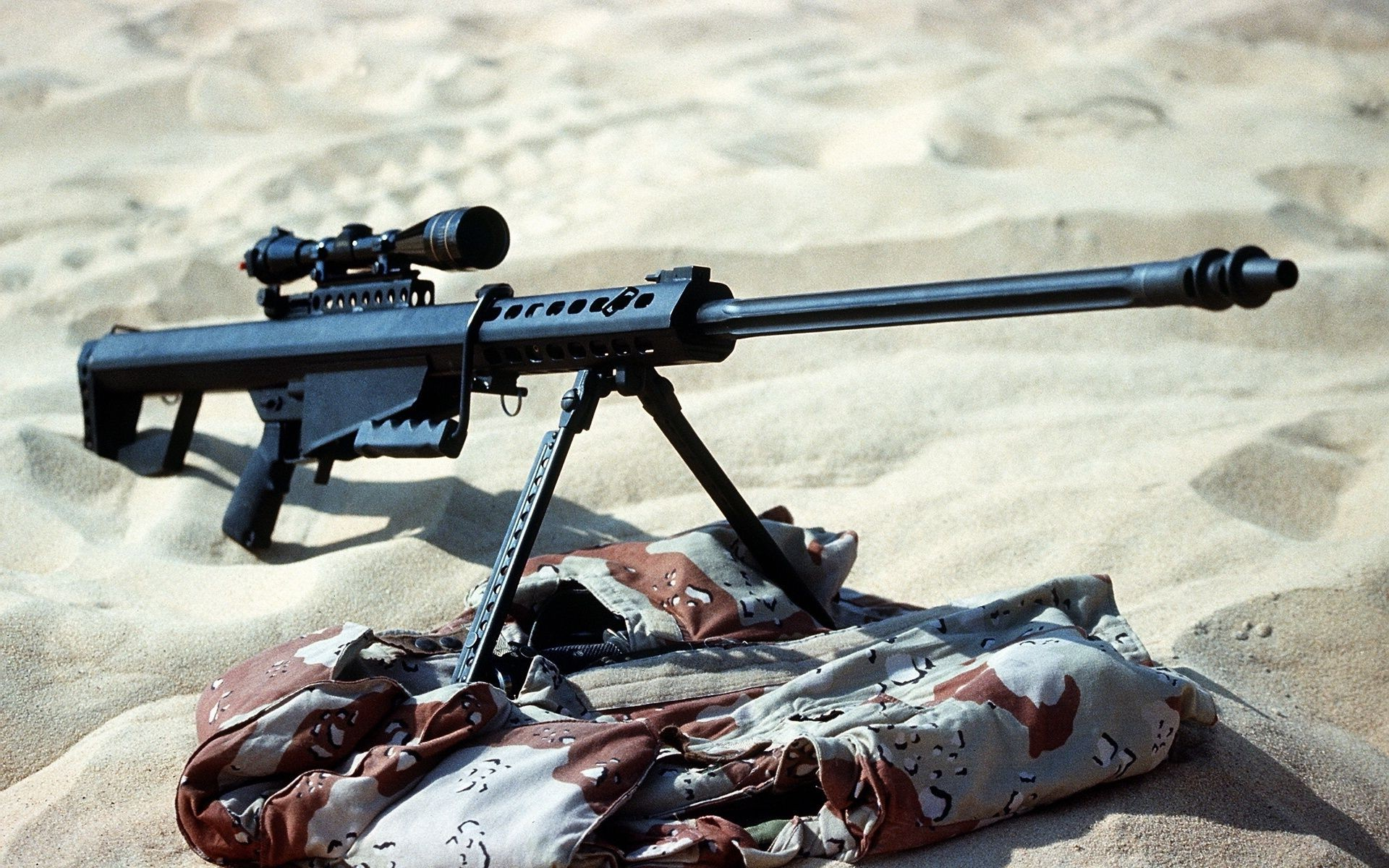 powerful sniper rifle sand the prone