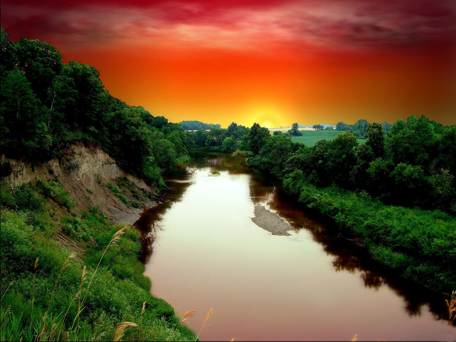 River sunset cliff