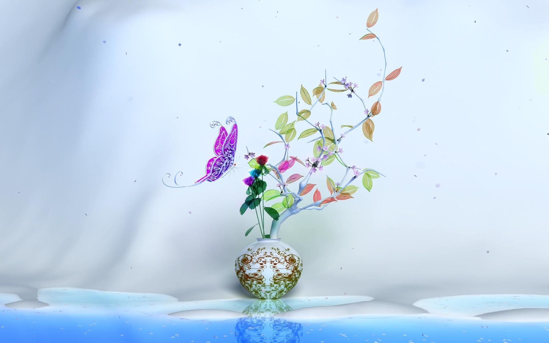 графика бабочки цветы вода graphics butterfly flowers water  № 1313524 без смс