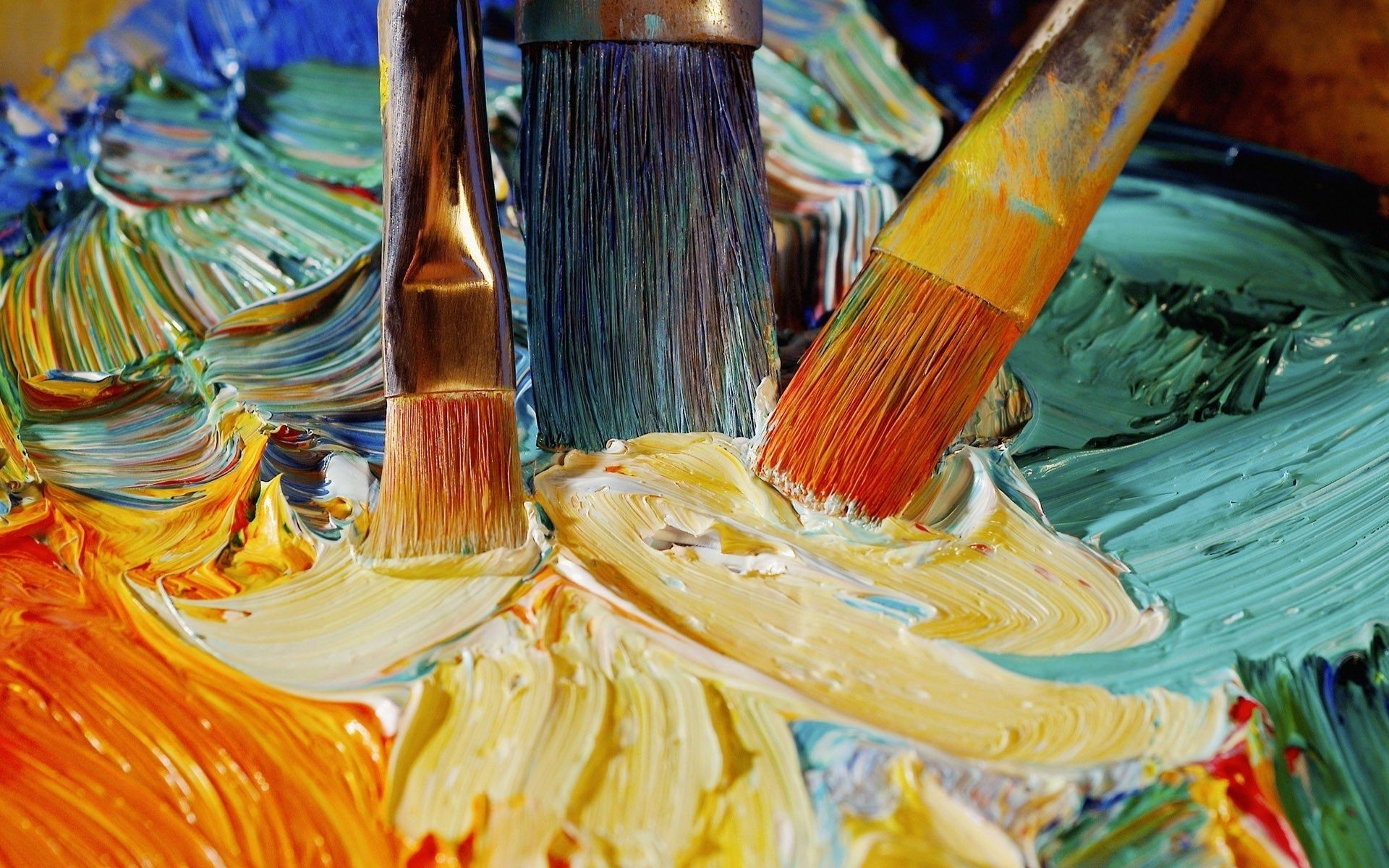 Brushes paint art oil