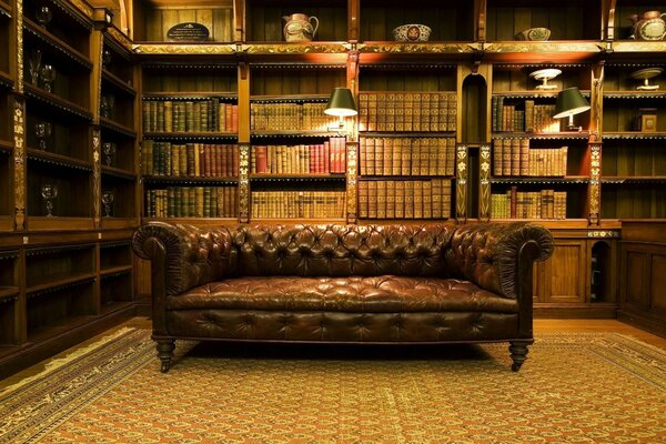 Antique leather sofa interior