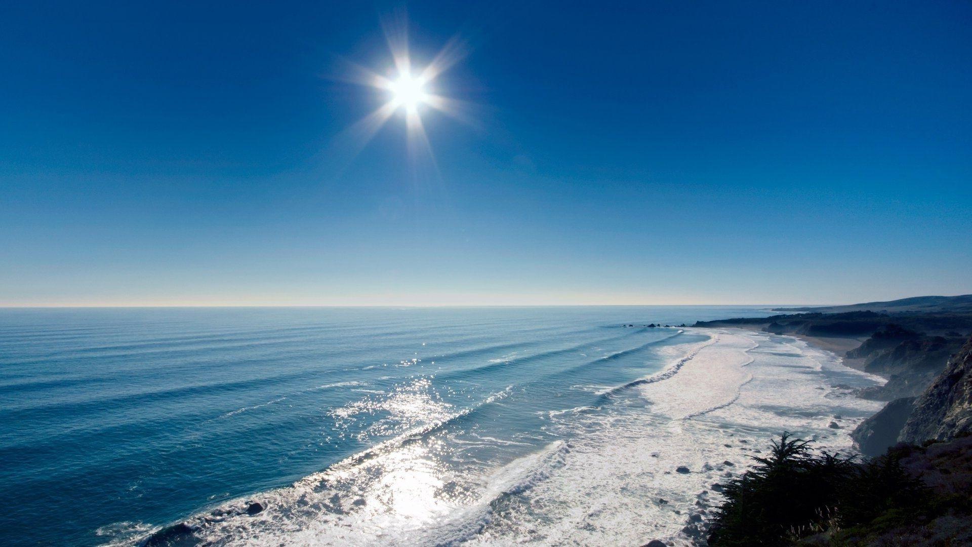 море пляж небо солнце в хорошем качестве