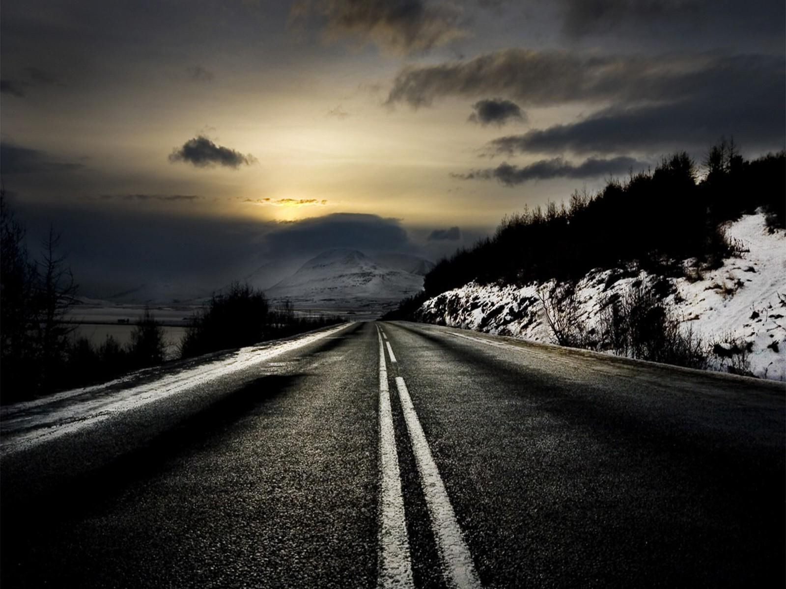 Dark Road Along The Mountains Android Wallpapers For Free