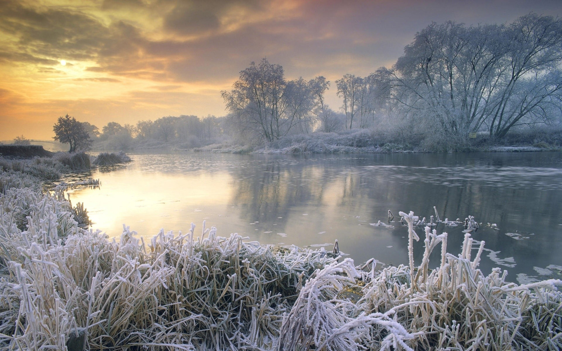 winter landscape nature water dawn frost lake fair weather fog weather outdoors sky reflection tree scenic snow wood cold sunset