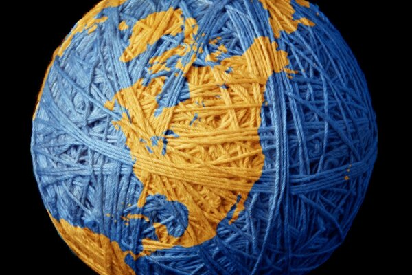 Earth thread blue ball planet globe