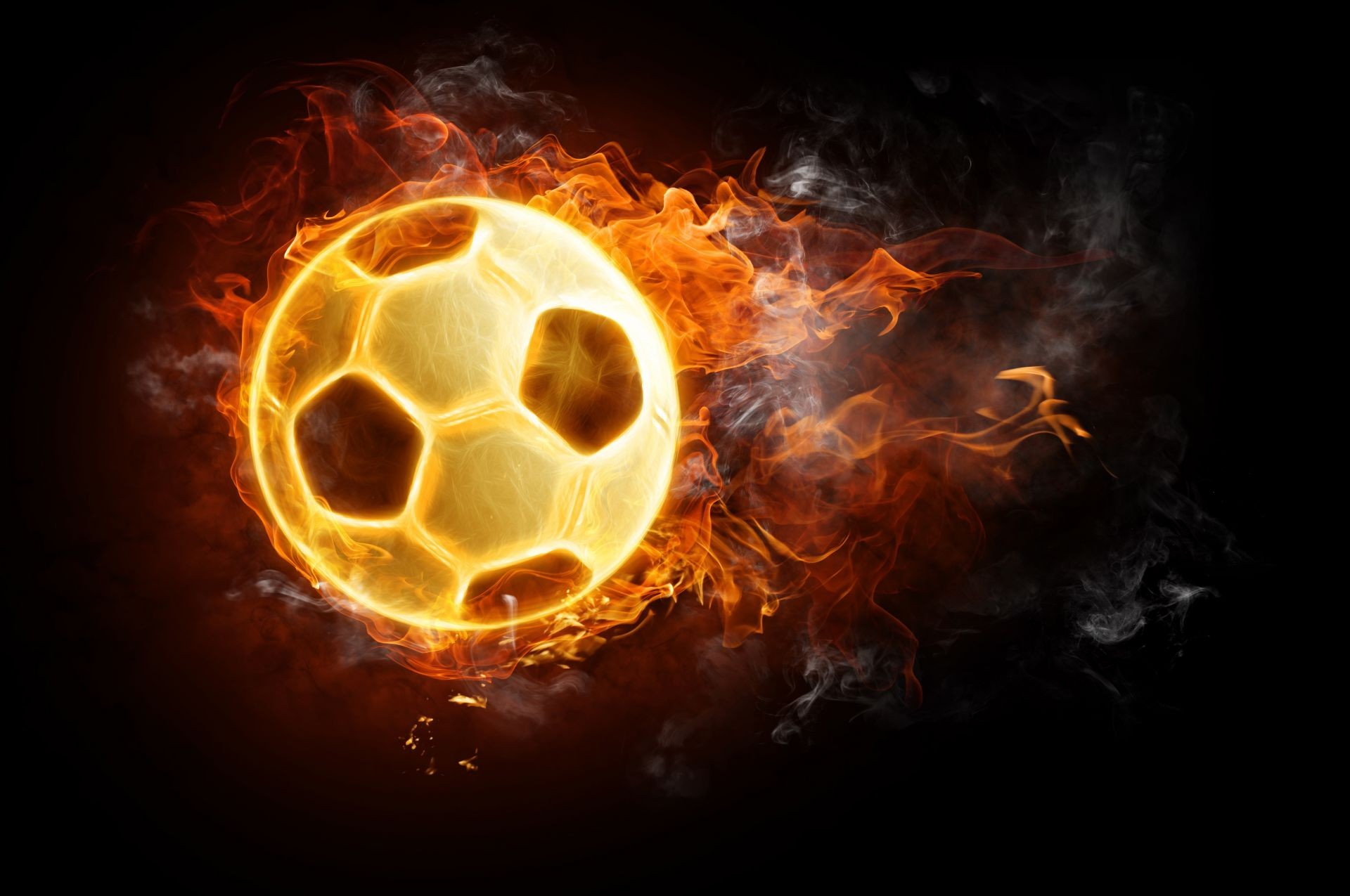 Soccer Ball Wallpapers: Ball Football Fire Black Background Tongues Of Flame