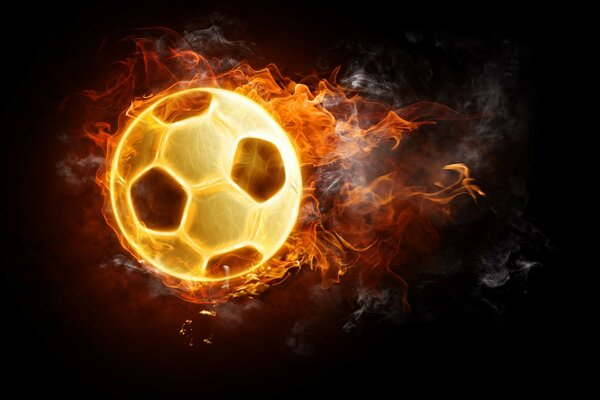 Ball football fire black background tongues of flame