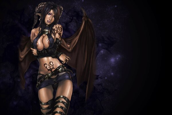 girl body wings chest tattoo the background of the night succubus