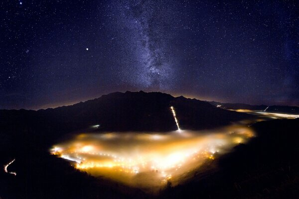 Foggy Valley with Milky Way