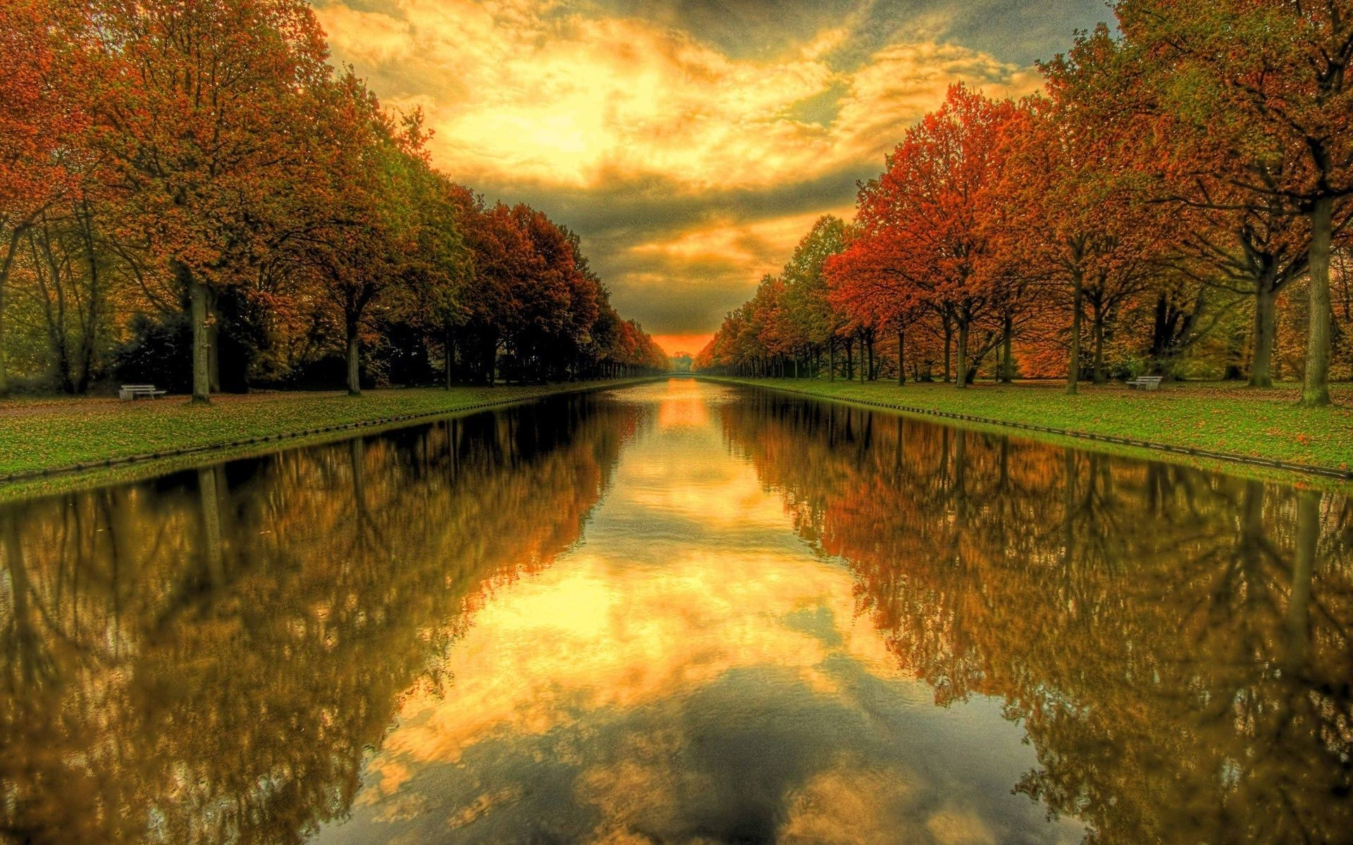 Canal water colorful autumn alley autumn trees serkal