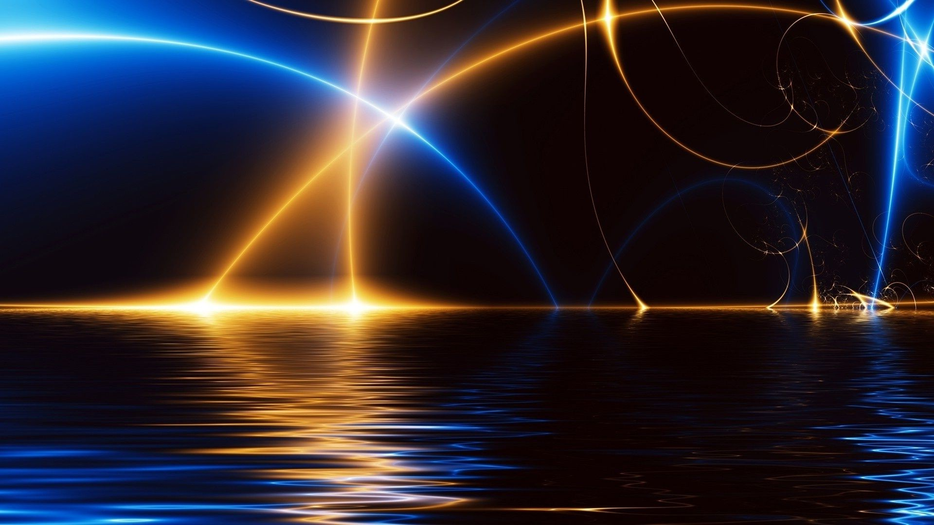 3d Water Blue Orange Light Arc Lighting Android Wallpapers