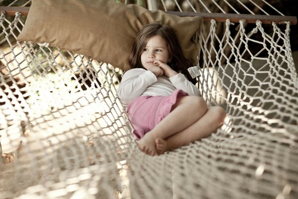 little girl hammock pillow rest thought