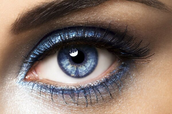 Blue eyes with eye shadows