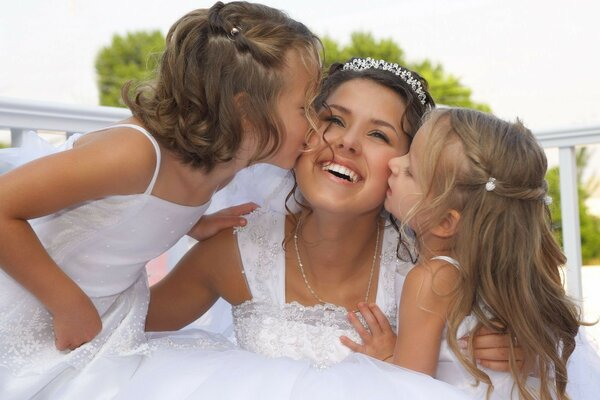 Bride with children. Possible with their children