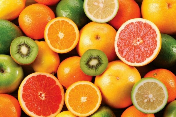 assorted fruits bright juicy