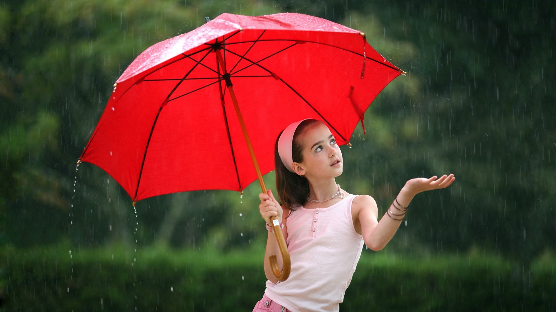 Girl umbrella red rain. Android wallpapers for free.