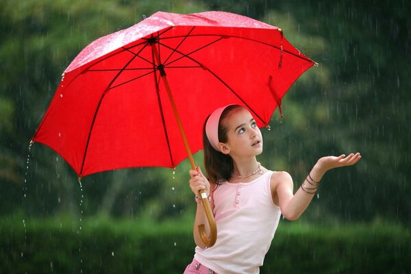 Girl umbrella red rain