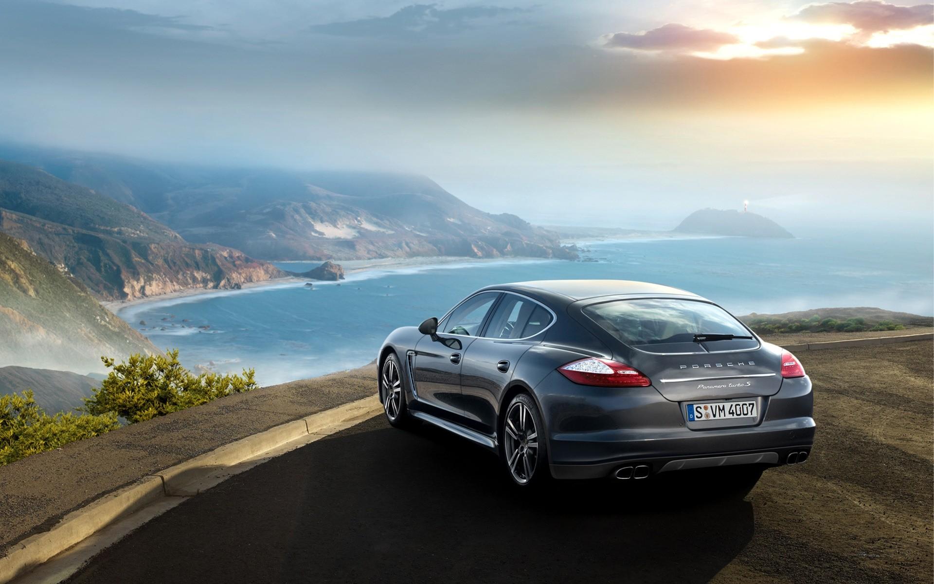 Porsche Car Travel Asphalt Beach Road Vehicle Sky Landscape Sea Ocean  Blacktop Water Noon Seashore