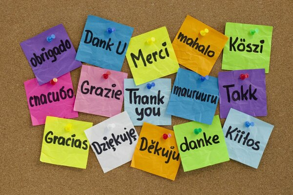 Thank you thanks many languages Board buttons multi-colored cups!