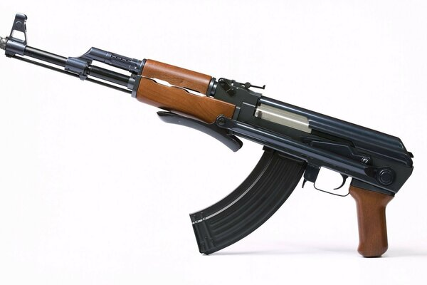 AKS-47 Kalashnikov automatic folding trunk on white background