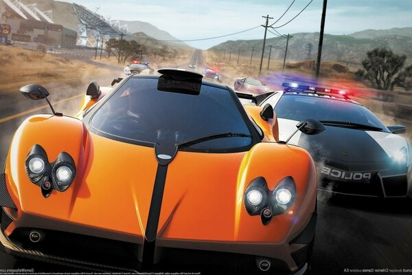 Nfs hot pursuit need for speed race COP Lamborghini